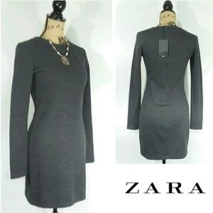 NWT ZARA Long-Sleeve Grey KNIT DRESS